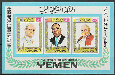 Yemen Kgr 1968 ** Bl.120 B Papst Pope Menschenrechte Human Rights Luther King
