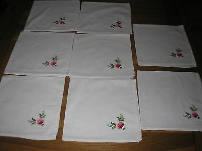 8 Vintage Cross Stitch Embroidered Matching White Cotton Napkins.