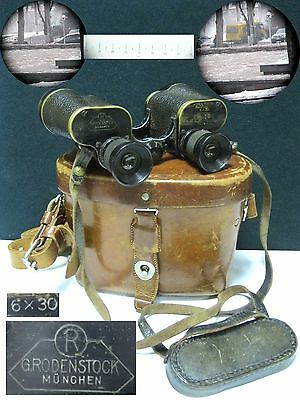 Antique Binoculars G.RODENSTOCK München 6x30 Germany German WWII MILITARY