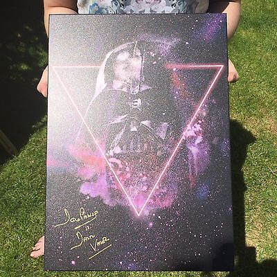 Star Wars - Signed Darth Vader Mask Metal Poster By Dave Prowse