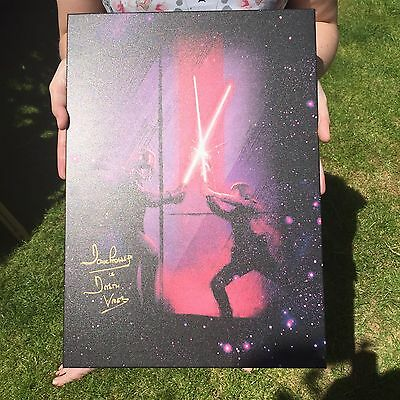 Star Wars - Signed Darth Vader Vs Luke Skywalker Metal Poster By Dave Prowse