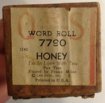 Honey (I'm In Love With You) - QRS 7790 Player Piano Word Roll VINTAGE 1928