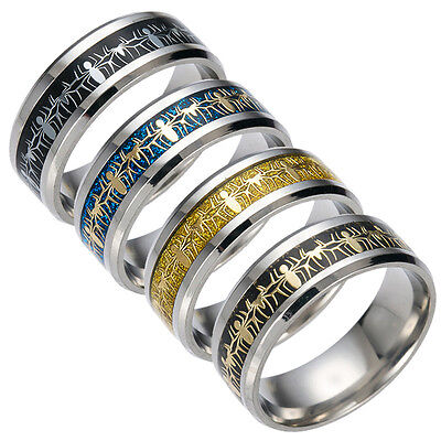 8mm Stainless Steel Spider Man Ring Men's Band Silver Black Blue Gold Size 6-13