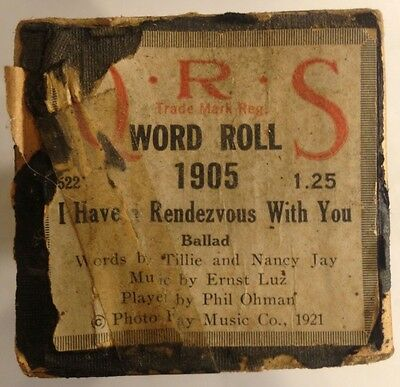 QRS Word Roll 1905 I HAVE A RENDEZVOUS WITH YOU Ballad VINTAGE 1921
