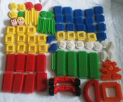 Large Job Lot Vintage Stickle Bricks Over 70 Pieces, Shapes, Wheels, Bear