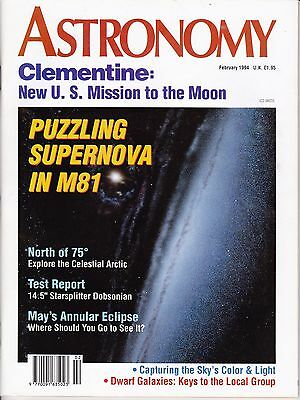 Astronomy Magazine February 1994, Solar Eclipse, Local Galaxies, Clementine