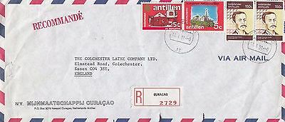 P 2166 Curacao registered  January 1991 commercial cover air UK; 4 stamps