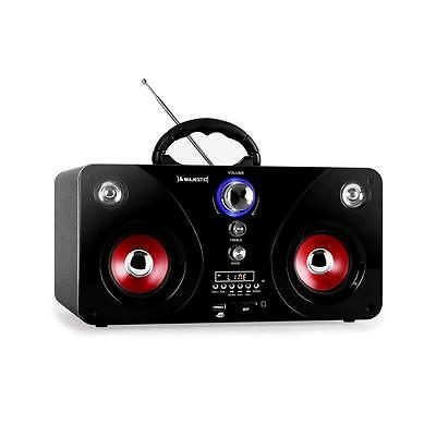 New Compact Boombox Black Sound System Usb Sd Radio Portable With Subwoofer