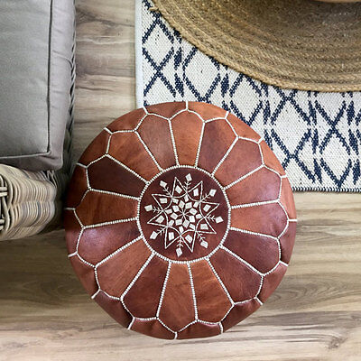 Brand NEW Moroccan Leather Ottoman Pouffe Pouf Footstool In Brown