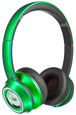 New Monster N Tune Headphones On Ear Light Mp3 Audio Ntune Green Metalic