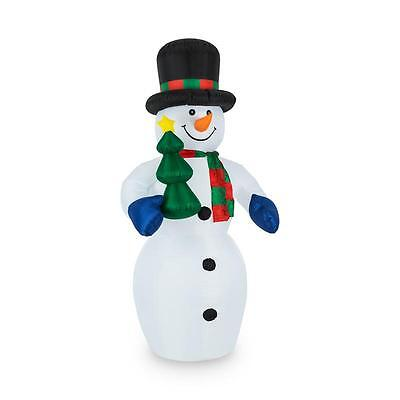 Big Outdoor Frosty Snowman Led Illuminated Self Inflating Lawn Decor
