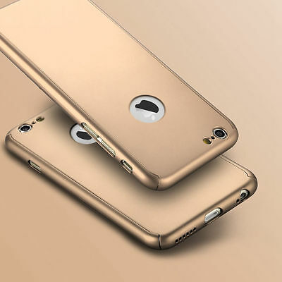 Hybrid 360° Ultra Thin Gold Case+Tempered Glass For iPhone 6s Plus {jd38