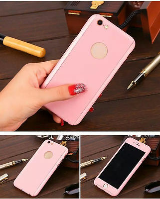 Hybrid 360° Ultra Thin Pink Case+Tempered Glass For iPhone 6s Plus {jd13