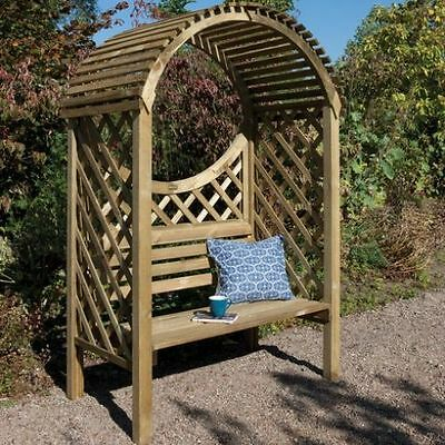 Wooden Garden Arbour Bench Seat Outdoor Furniture Lattice Trellis Climber Plants