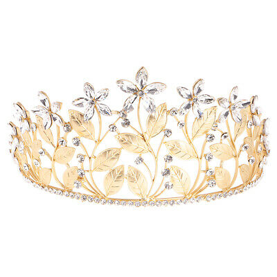 Wedding Bridal Leaf Flower Hair Band Princess Crown Rhinestone Tiara Headband