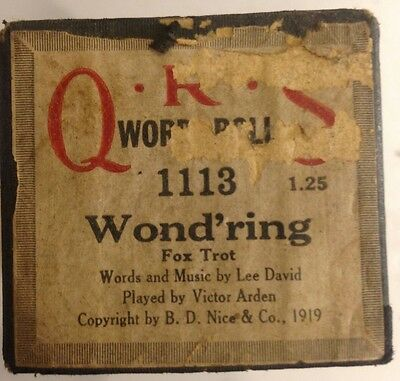 Piano Word Roll QRS 1113 WOND'RING Fox Trot PB/ Victor Arden VINTAGE 1919
