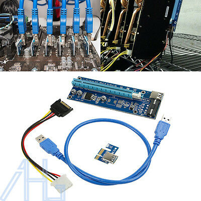 6Pcs USB3.0 PCI-E Express 1x To16x Extender Riser Card + Adapter Power Cable