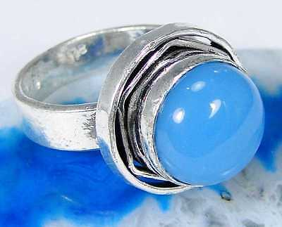 Blue Jade & 925 Sterling Silver Overlay Fashionable Ring Size Q MA18-5129