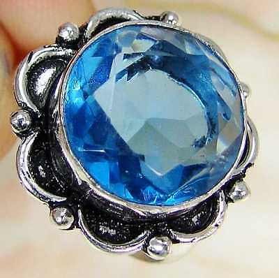 Quartz Blue Topaz & 925 Sterling Silver Overlay Fashionable Ring Size R MA6-1840