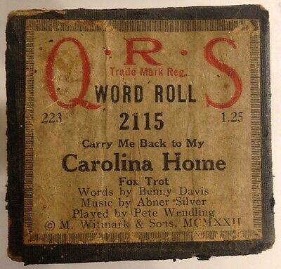 QRS Word Roll 2115 (Carry Me Back to My) CAROLINA HOME Fox Trot VINTAGE