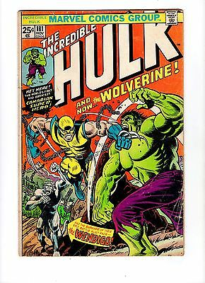 Incredible Hulk 181 1st print full app Wolverine - 1974 - Marvel not cgc - xmen