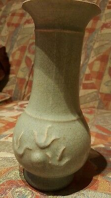 Rare Chinese Porcelain Chai Kiln Embossed Light Green Glazed Vase