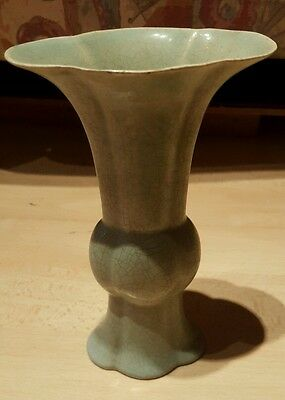 Rare Chinese Porcelain Chai Kiln Light Green Glazed Vase