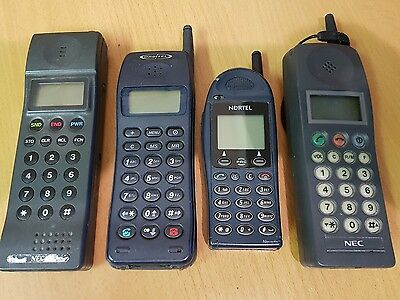 Vintage Retro Cellular NEC P3 1990  Mobile Phone AND 3 other old phones