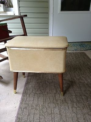 Vintage Burlington Hawkeye Mid Century Sewing Box Bench Stool Basket Ottoman