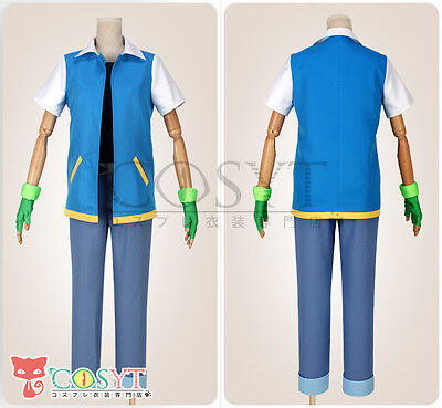 COSYT Pokemon Ash Ketchum Cosplay Costume  With Hat Blue Vest Cos Clothing Set