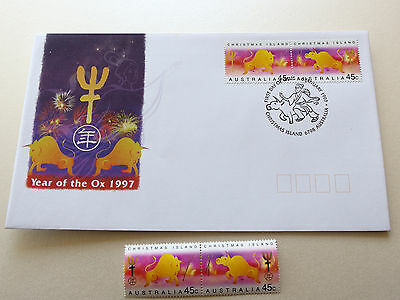 1997 Christmas Island - Year of The OX  2 x 45c stamps  MNH + FDC