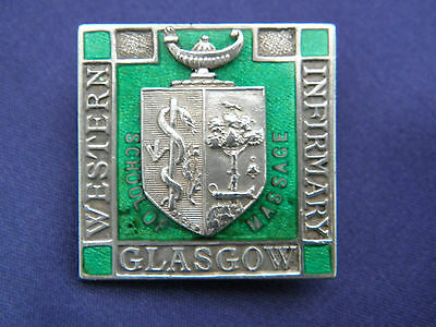 RARE SOLID SILVER WESTERN INFIRMARY GLASGOW MEDICAL BADGE Vaughton & Sons 1941