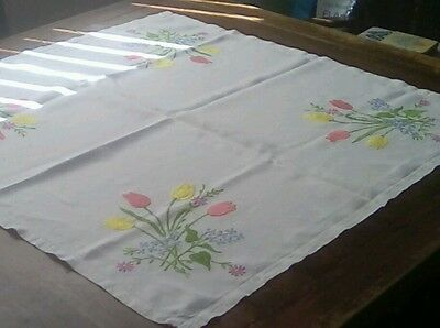 """Hand Embroidered linen vintage table cloth 31"""" square (79cms)."""