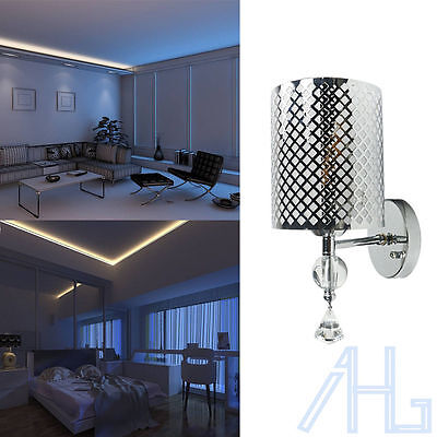 Modern Silver Wall Indoor Lights Sconce Lamp Switch Fittings Bedside Warm White