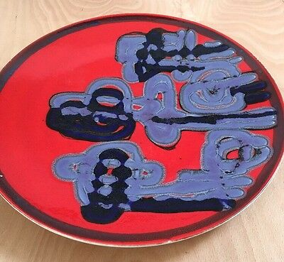Large Poole Delphis 14' Charger Red/Purple/Blue Shape 5 Sylvia Penny 1960-70.