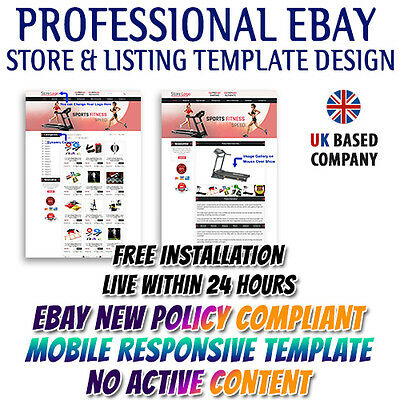 eBay Best Store Template, Listing Mobile Responsive Template for Sports&Fitness