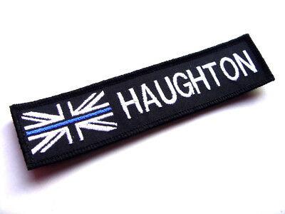 Police Thin Blue Line White Union Jack & Name  Badge / Patch