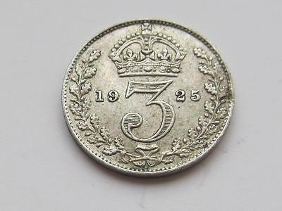 George V silver Threepence 1925 - Good collectable coin for lower mintage date