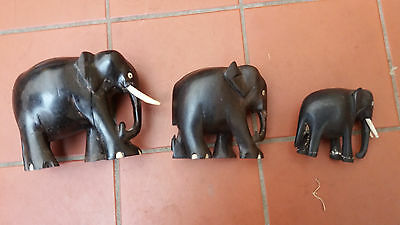 3 x Antique Hand Carved Black Indian Ebony Wooden Elephants