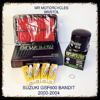 SUZUKI GSF600 Bandit 00-04 Service Kit, Oil Filter, Air Filter, Plugs. SER3135