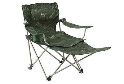 Outwell Windsor Hills Folding Camping Chair & Footrest - Green Stripe RRP £64.99