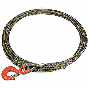 LIFT-AL Carbon Steel Wire, Bright Winch Cable,3/8 In. x 75 ft., 38WIX75, Natural