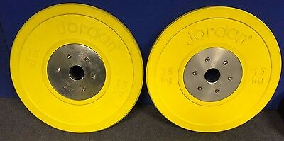 Pair of 15kg Calibrated Olympic Competition weight Discs,commercial equipment