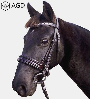 AGD Brown Patent Leather Bridle. Austrian Crystal browband & reins. COB