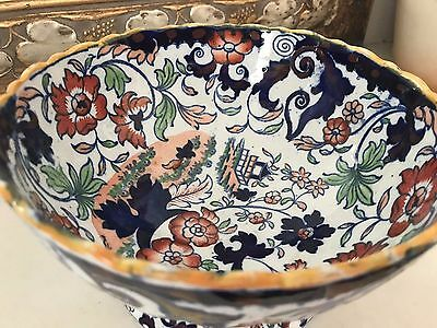 Antique Japanese Amherst Ironstone Bowl Hand Painted Floral C1840