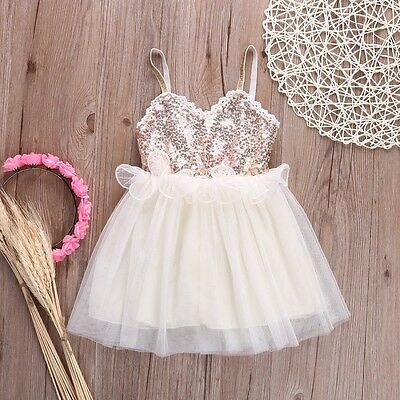 Girls Kids Toddler Flower Girl Princess Party Sequin Sheer Tulle lace Tutu NEW