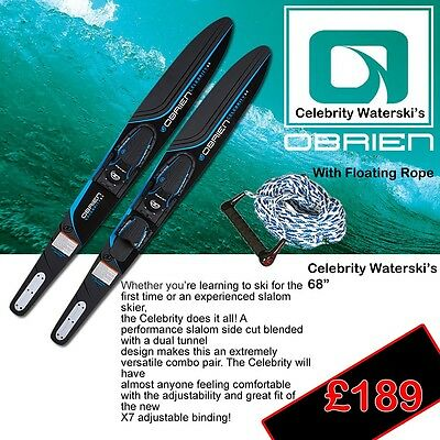 O'Brien Celebrity Combo Waterski's 2017 With Floating rope Blue Last Pair !