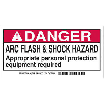 BRADY Polyester Arc Flash Protection Label,2 In. H,PK100, 101518