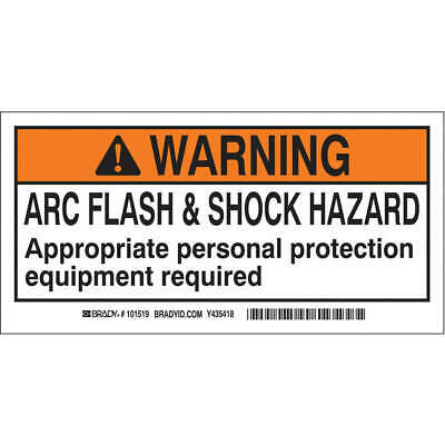 BRADY Polyester Arc Flash Protection Label,2 In. H,PK100, 101517