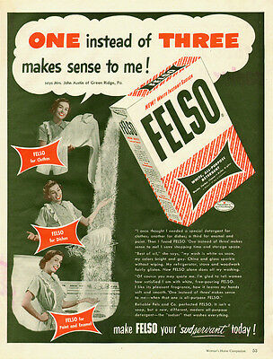 1951 vintage Ad, household FELSO White Detergent  050814